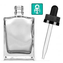50 ml Hranatá fľaštička s kvapkadlom - číre sklo