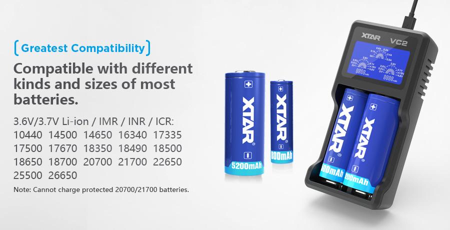 Xtar VC2 Li-Ion nabíjačka pre monočlánky (www.e-smoke.sk)